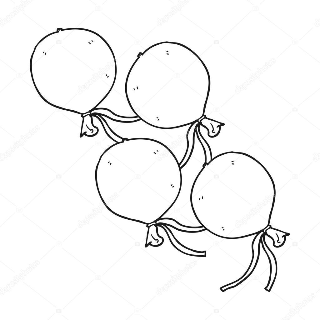 Ballons De Dessin Animé Noir Et Blanc Image Vectorielle