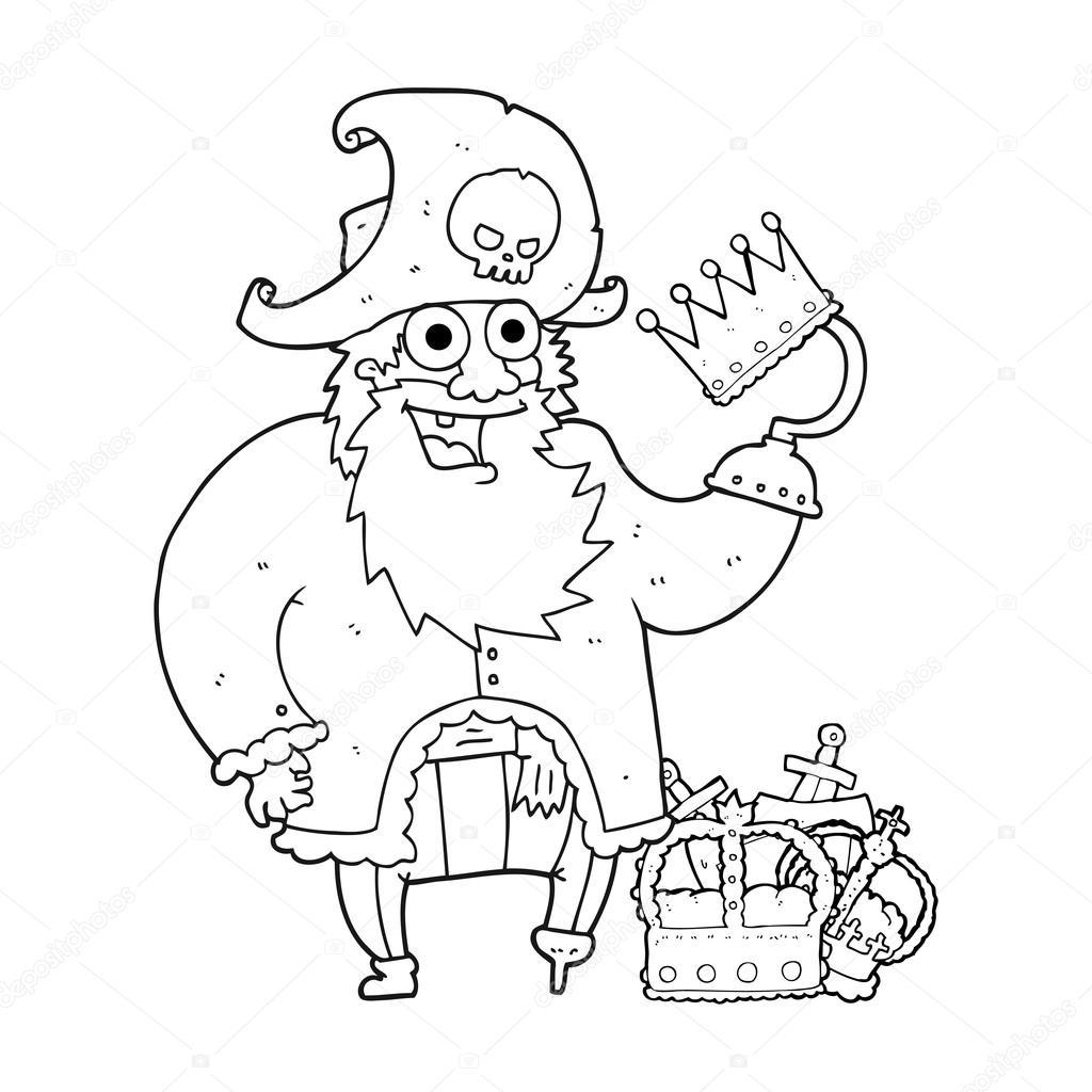 capitán pirata de dibujos animados blanco y negro — Archivo Imágenes ...