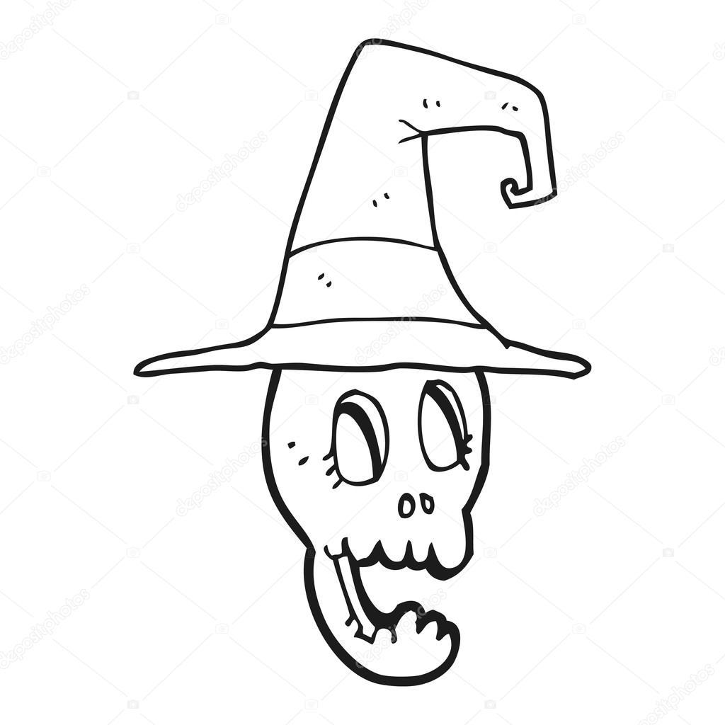 Animado Sombrero De Bruja Para Colorear Cráneo De Dibujos