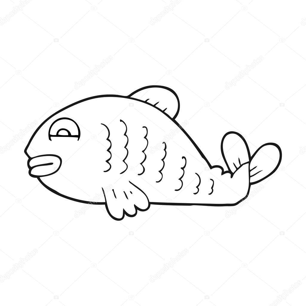 Pescado Blanco Y Negro Pescado Blanco Y Negro De Dibujos Animados
