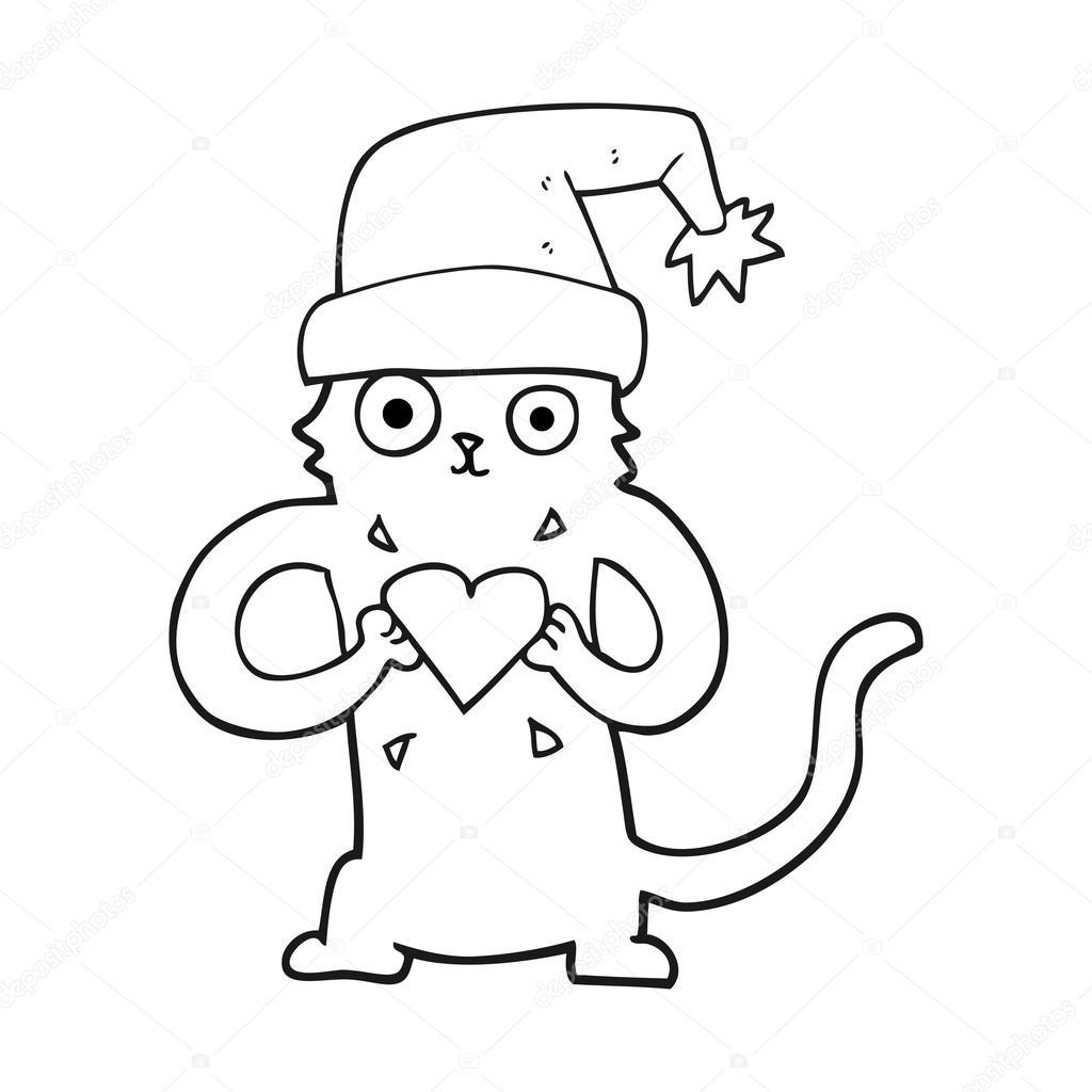 Gato Preto E Branco Dos Desenhos Animados Amar O Natal Vetores