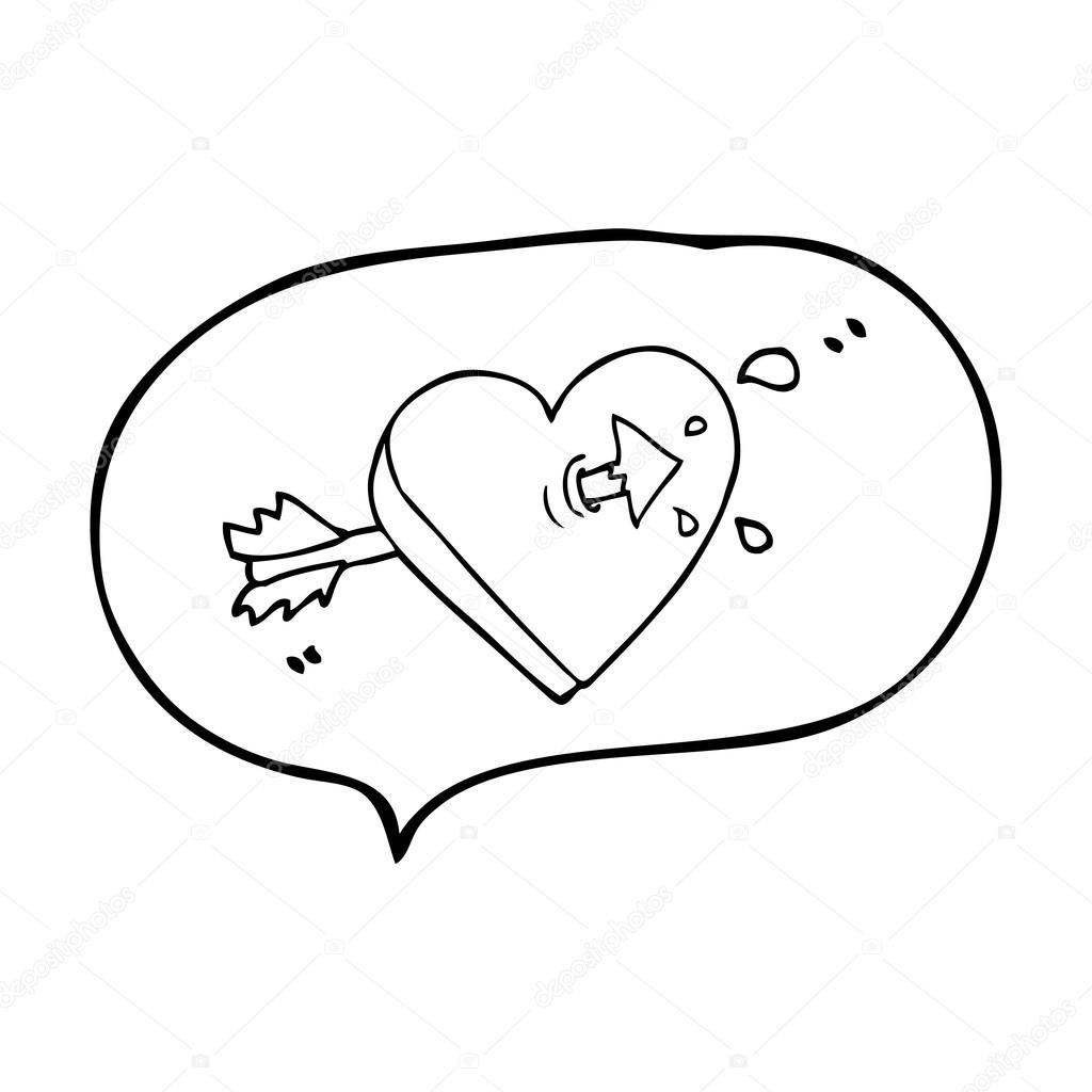 speech bubble cartoon arrow through heart speech bubble cartoon