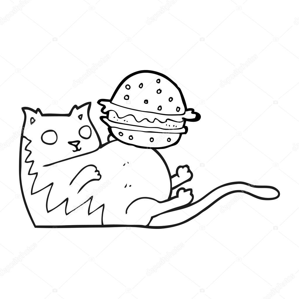 schwarzen und weißen Cartoon fette Katze mit burger — Stockvektor ...