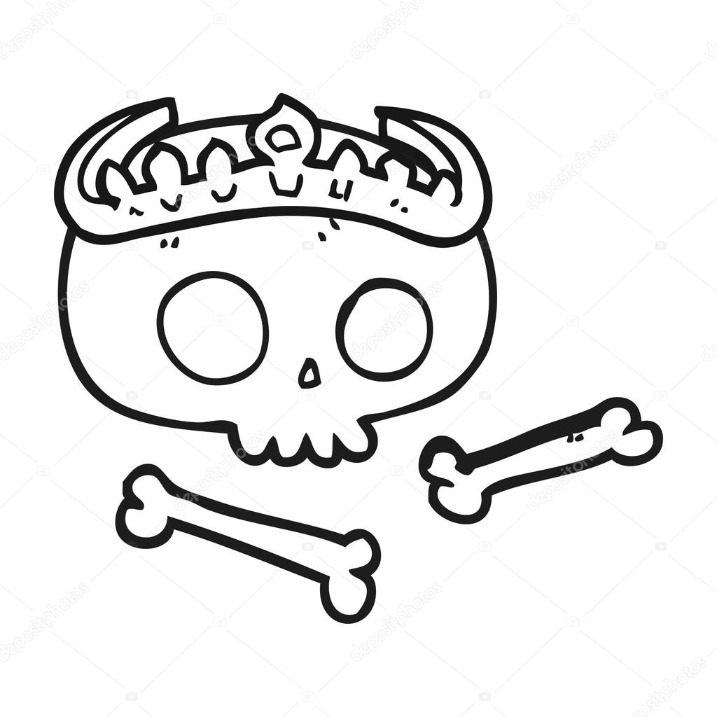 dibujos animados blanco y negro cráneo con tiara — Vector de stock ...