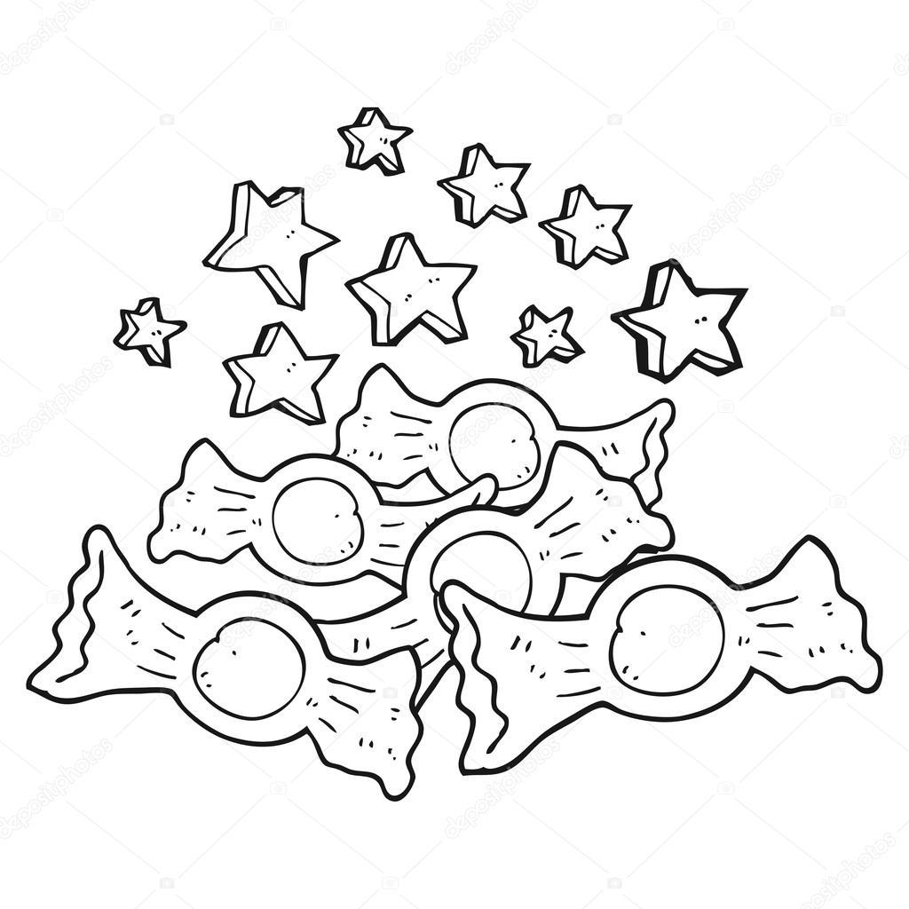 candy dibujos animados blanco y negro — Vector de stock ...