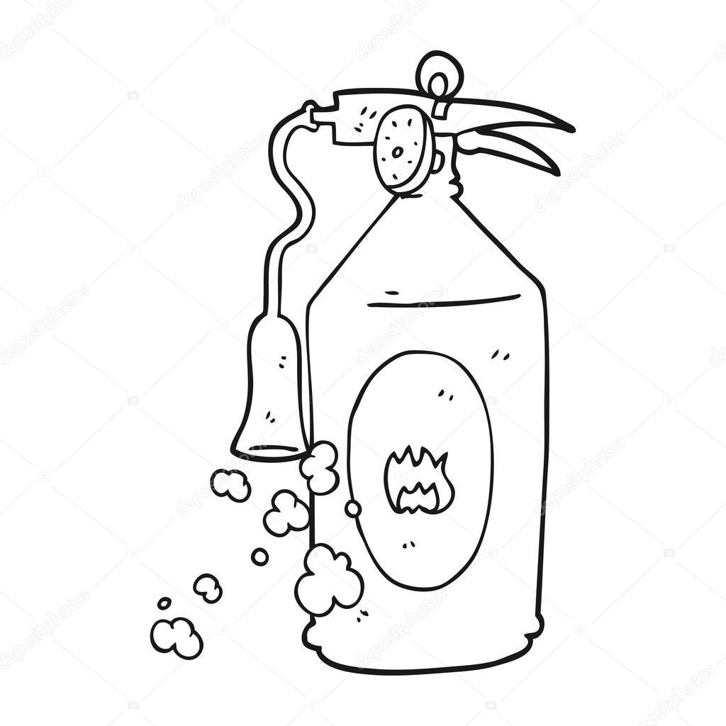 extintor de incendios de dibujos animados blanco y negro — Archivo ...