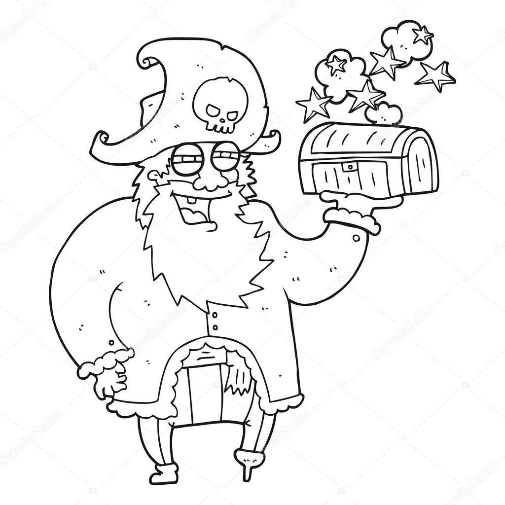 capitão pirata de desenho preto e branco com baú de tesouro vetor