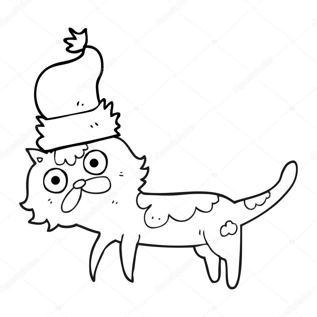 Dibujos Animados Blanco Y Negro Gato Con Sombrero De Navidad