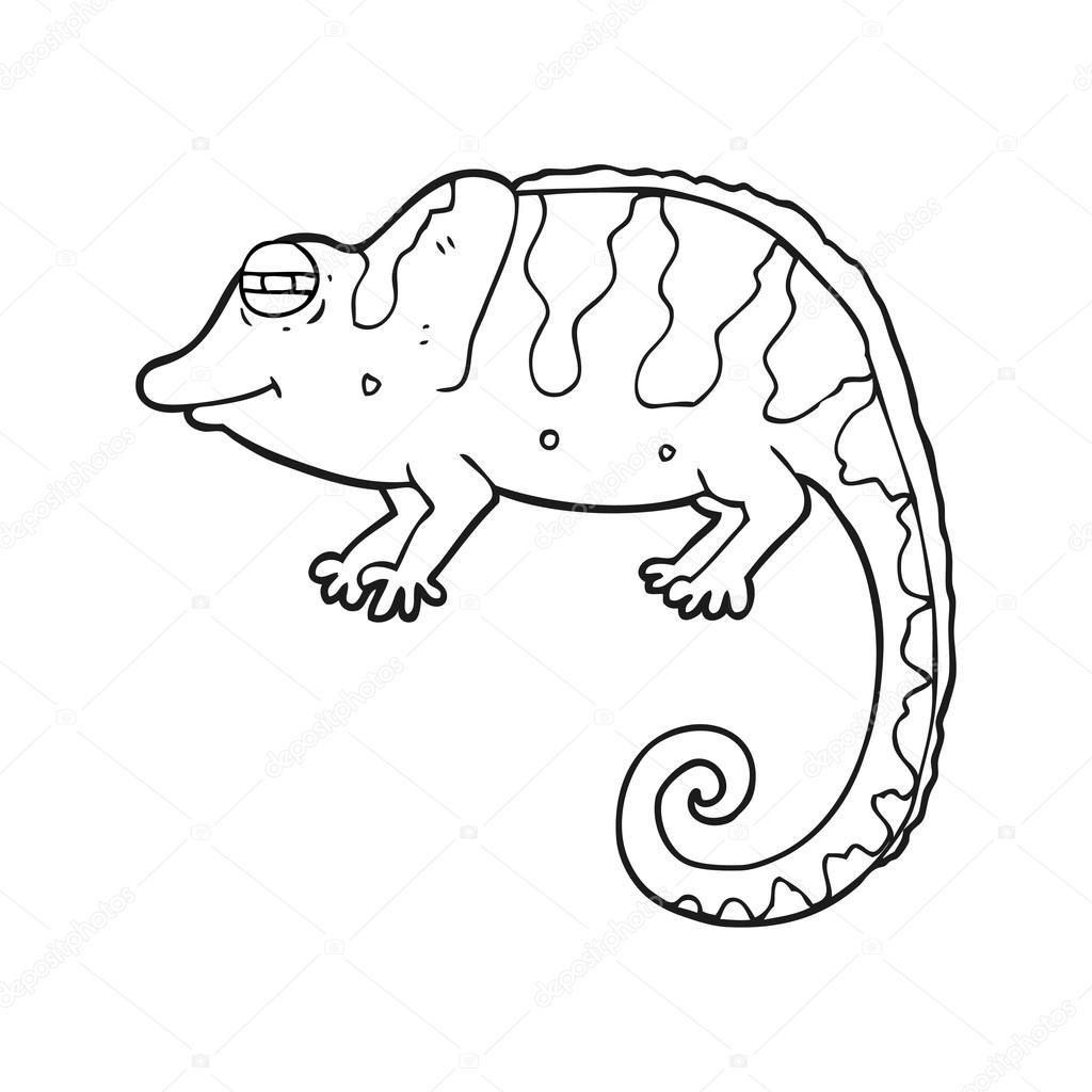 camaleón de dibujos animados blanco y negro — Archivo Imágenes ...