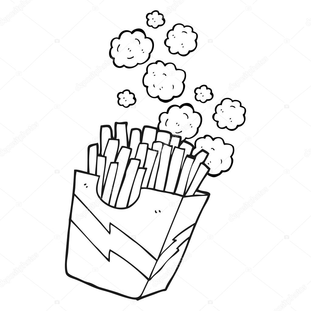 black and white cartoon french fries u2014 stock vector
