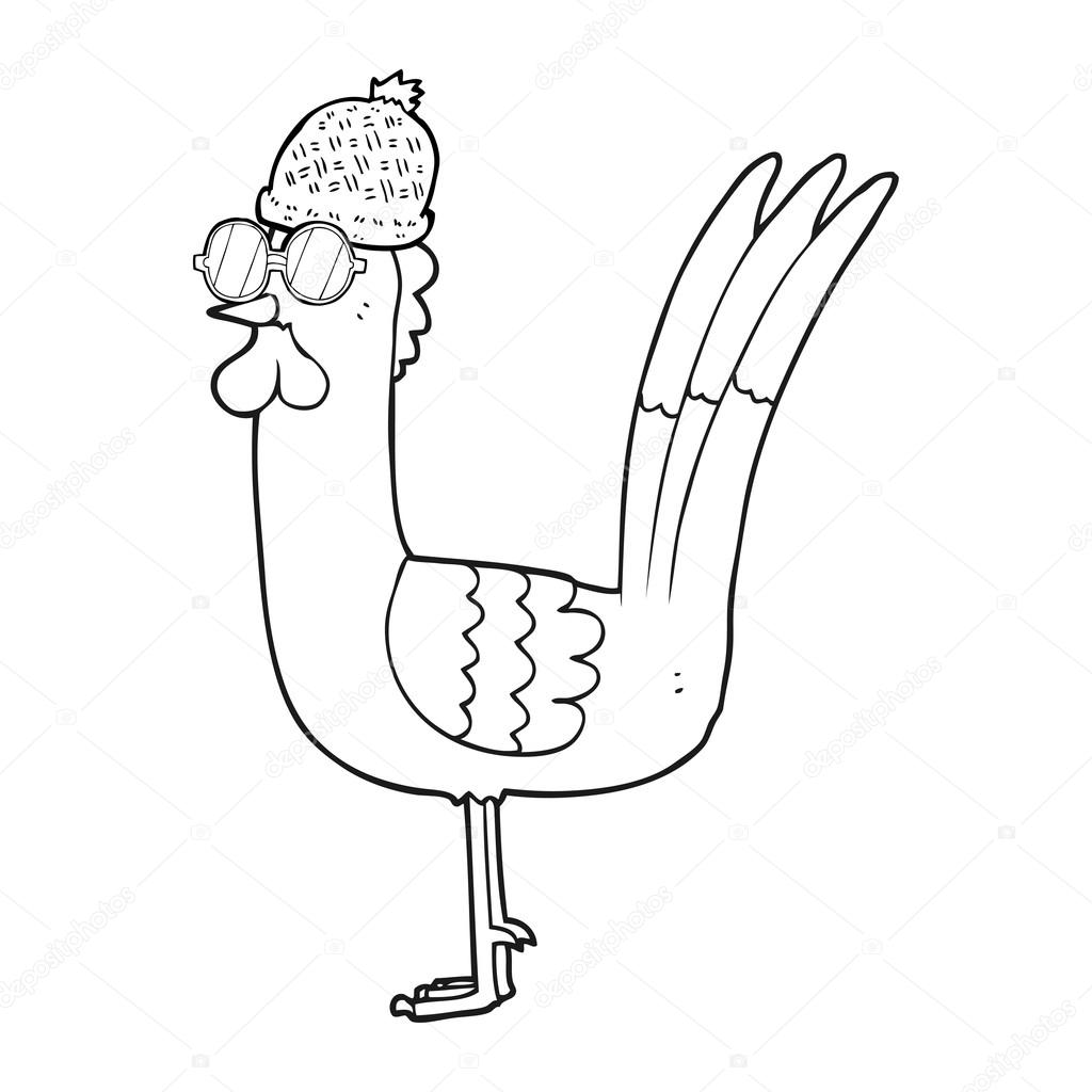 Black And White Cartoon Chicken Wearing Disguise Stock Vector