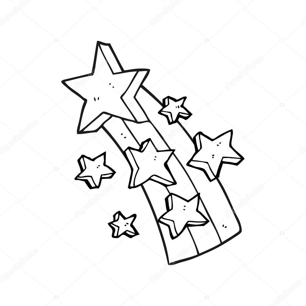 estrella fugaz de dibujos animados blanco y negro — Vector de stock ...