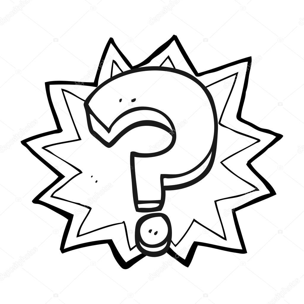 Point d'interrogation noir et blanc dessin animé — Image ...
