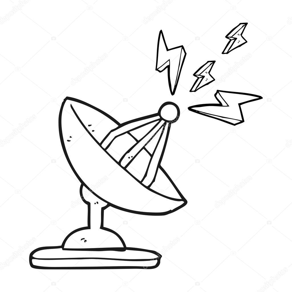 antena parab u00f3lica preto e branco dos desenhos animados