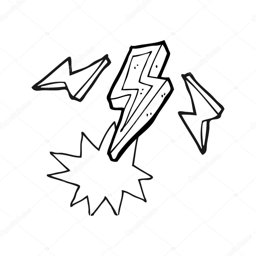 doodle del perno de relámpago blanco y negro de dibujos animados ...
