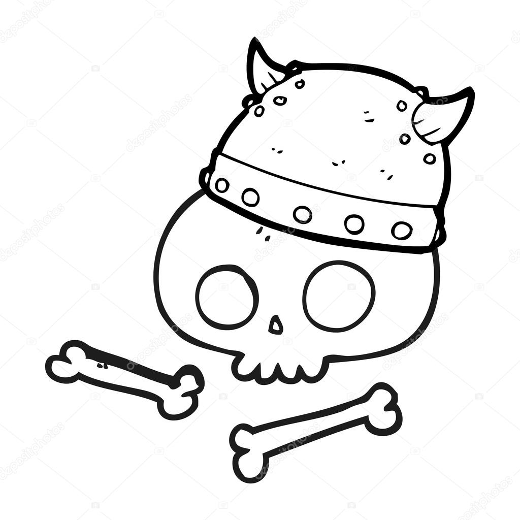 Siyah Beyaz çizgi Film Viking Kask Kafatası üzerinde Stok Vektör