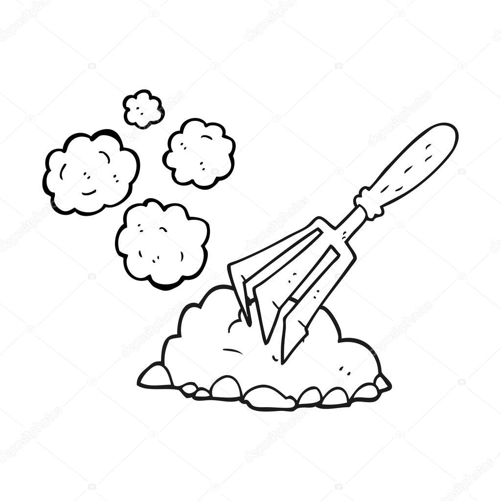 herramienta de jardinería de dibujos animados blanco y negro ...