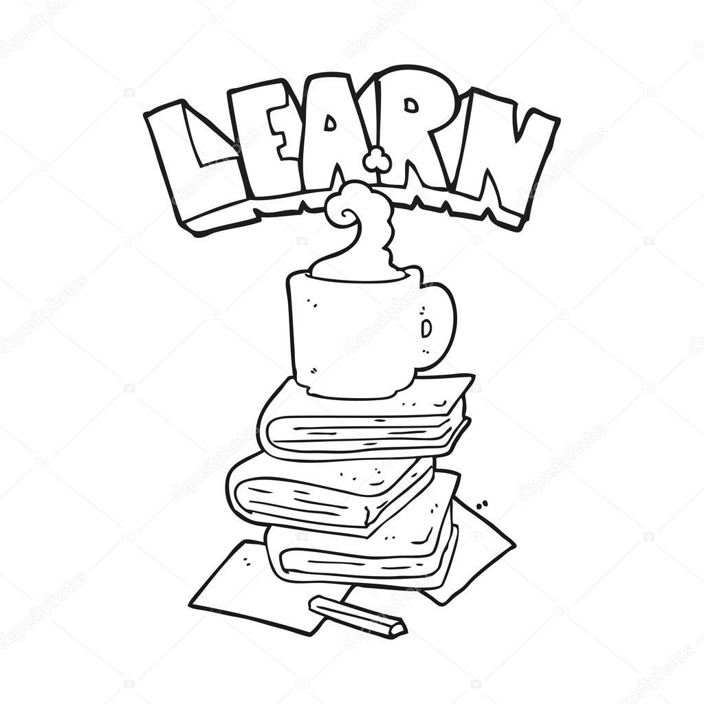 libros de dibujos animados blanco y negro y taza de café debajo de ...