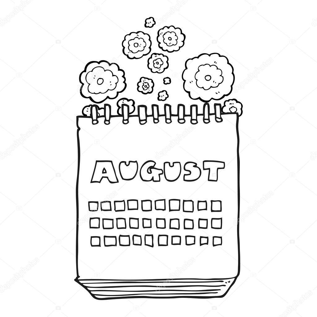 Dessin Anim 18 Mois: Dessin Animé Noir Et Blanc Calendrier Montrant Mois D'août