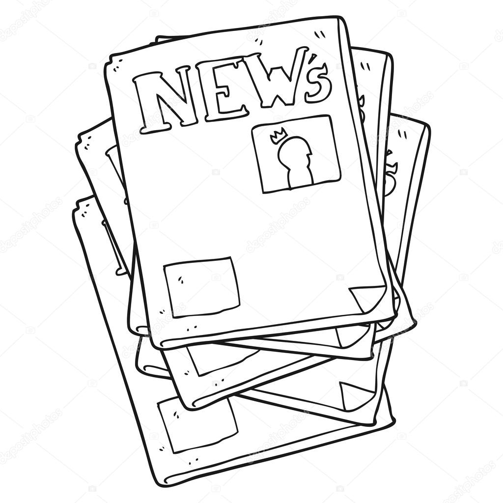Animado Periodico Dibujo Periódico De Dibujos Animados Blanco Y