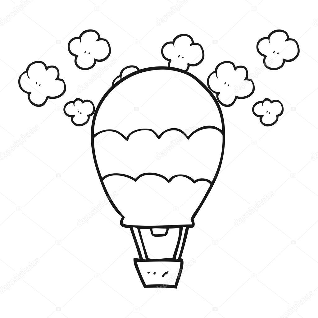 Ballon à Air Chaud Dessin Animé Noir Et Blanc Image Vectorielle