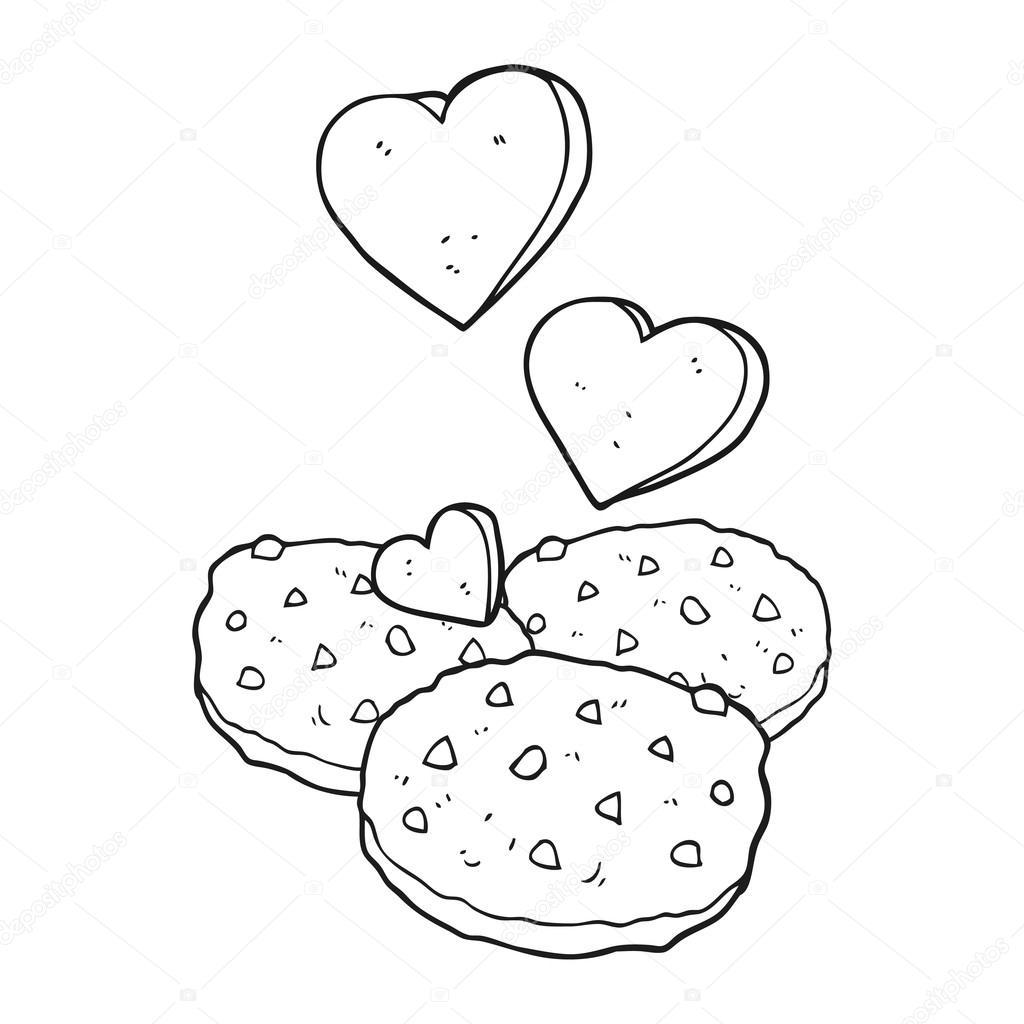 galletas blanco y negro de dibujos animados — Vector de stock ...