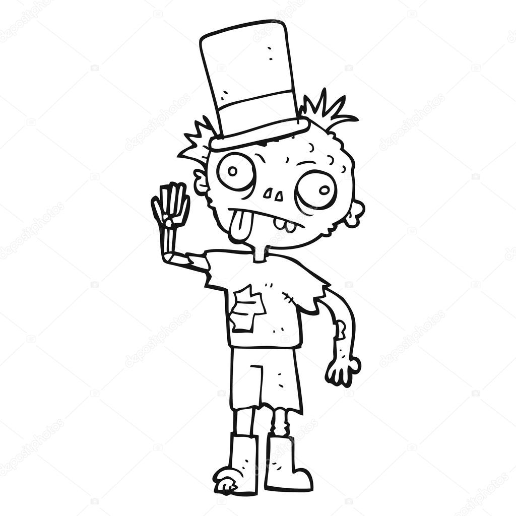 Black And White Cartoon Zombie Stock Vector C Lineartestpilot