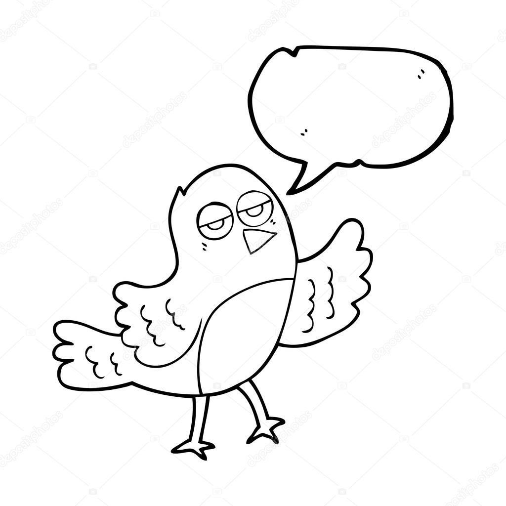 pájaro de dibujo animado discurso burbuja — Archivo Imágenes ...