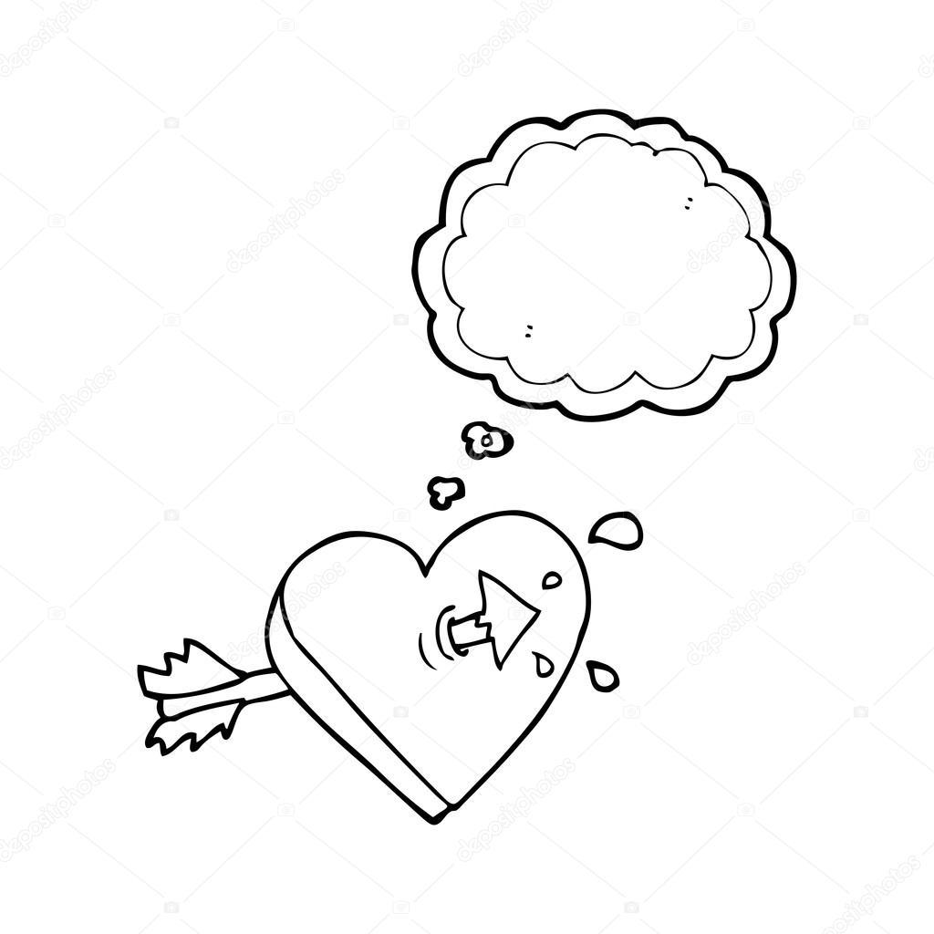 thought bubble cartoon arrow through heart thought bubble cartoo