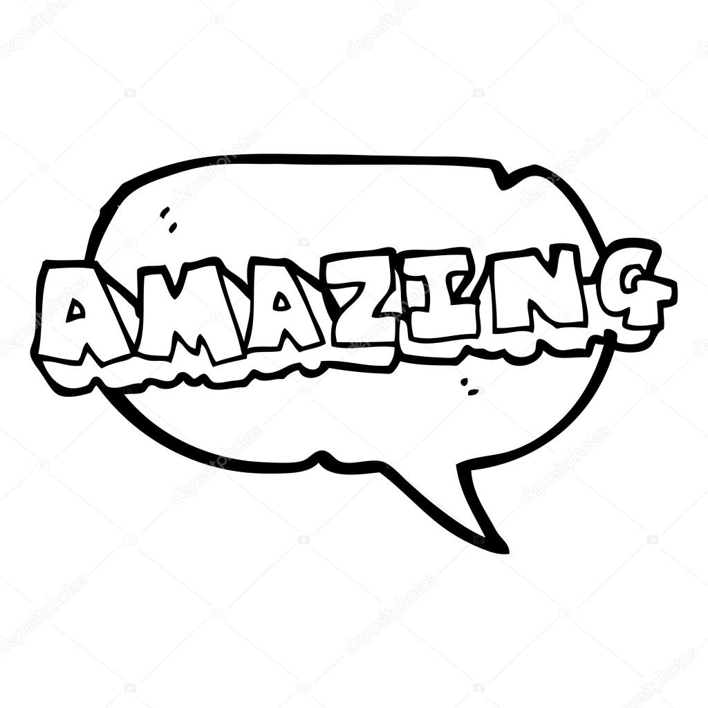 The Word Amazing: Speech Bubble Cartoon Amazing Word