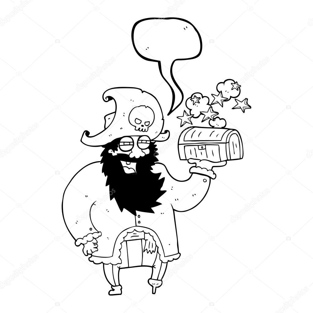 capitão de discurso bolha dos desenhos animados pirata com baú de