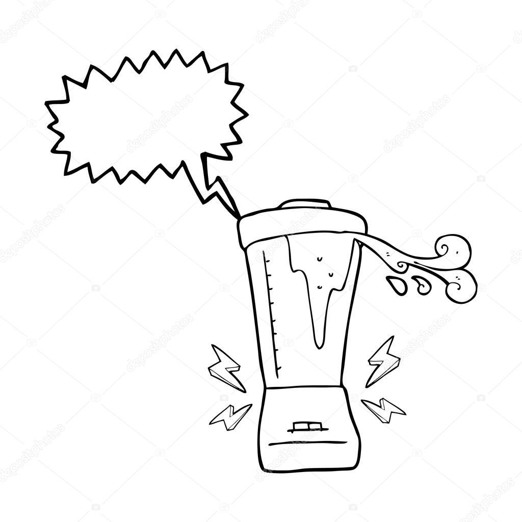 Licuadora De Dibujo Animado Discurso Burbuja Enloquecido
