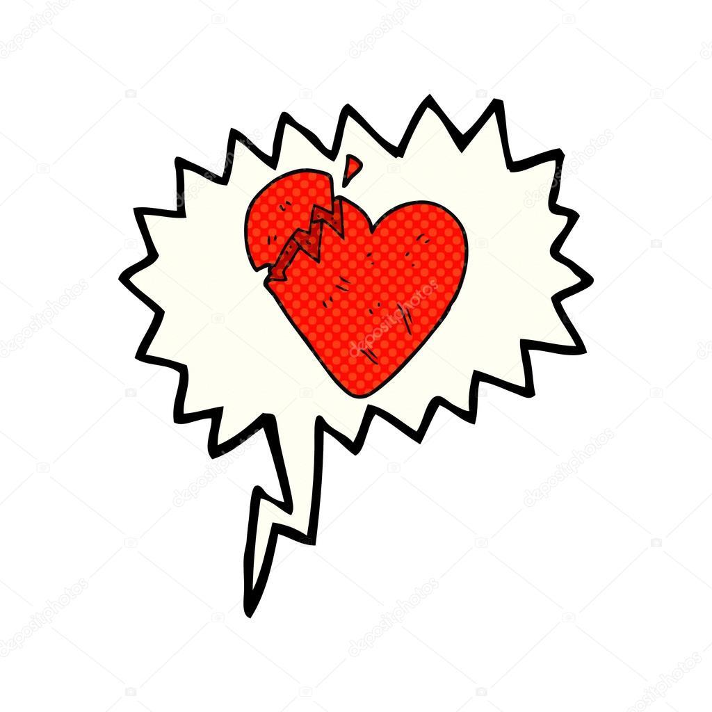 Bulle De Bande Dessinée Dessin Animé Coeur Brisé Image Vectorielle