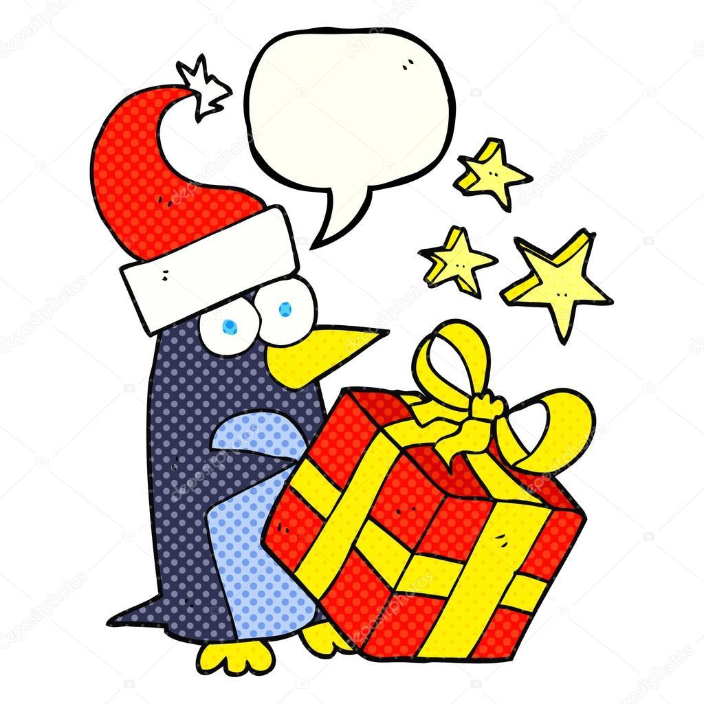Buch Geschenk Weihnachten.Comic Buch Sprechblase Cartoon Weihnachten Pinguin Mit Geschenk