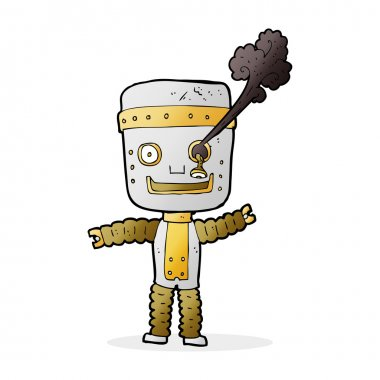 cartoon funny gold robot
