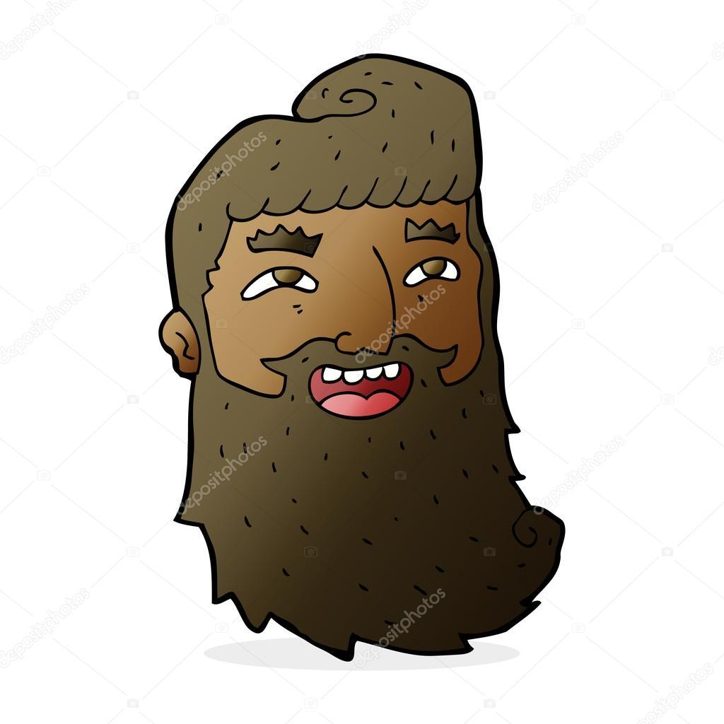 Uomo di cartone animato con barba ridendo u vettoriali stock
