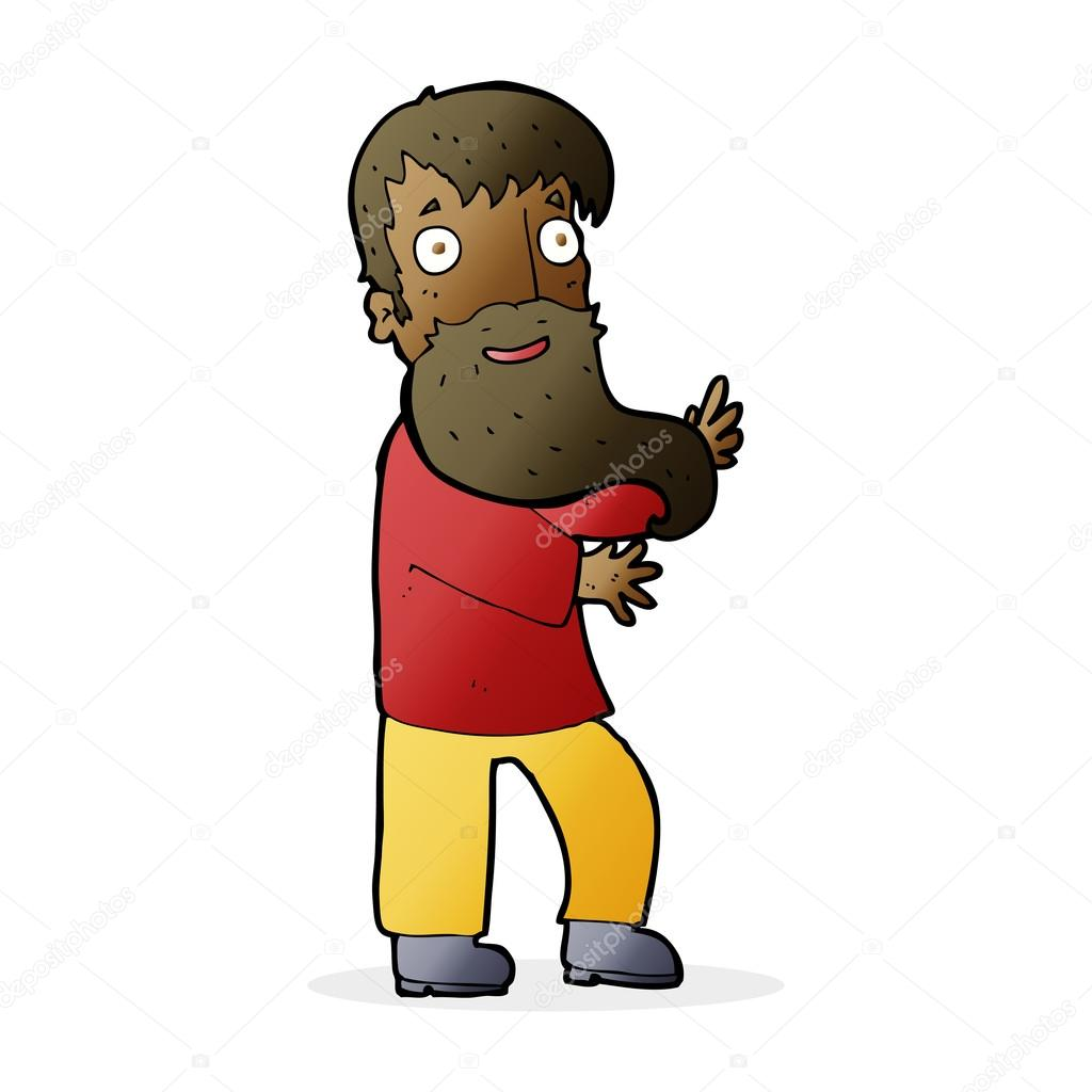 Cartone animato eccitato uomo barbuto u vettoriali stock