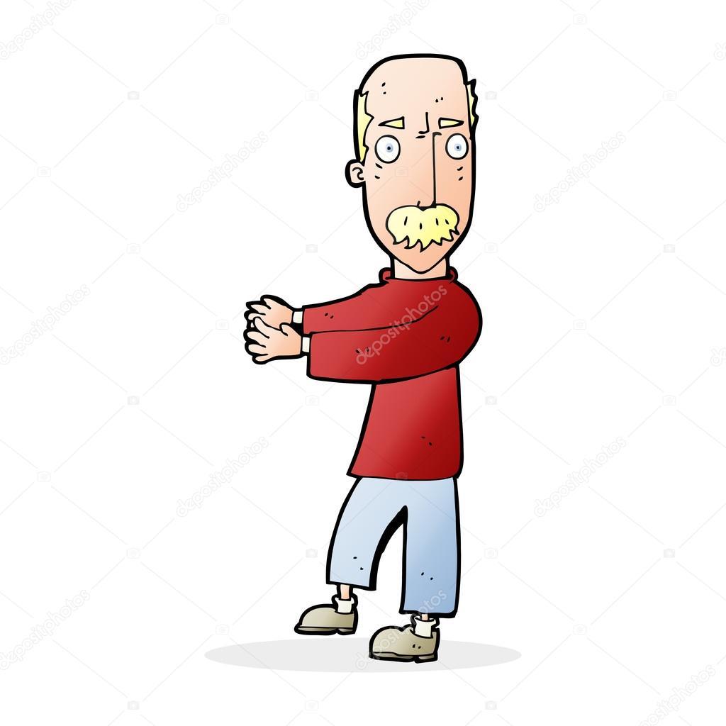 Uomo calvo cartone animato che spiega u vettoriali stock