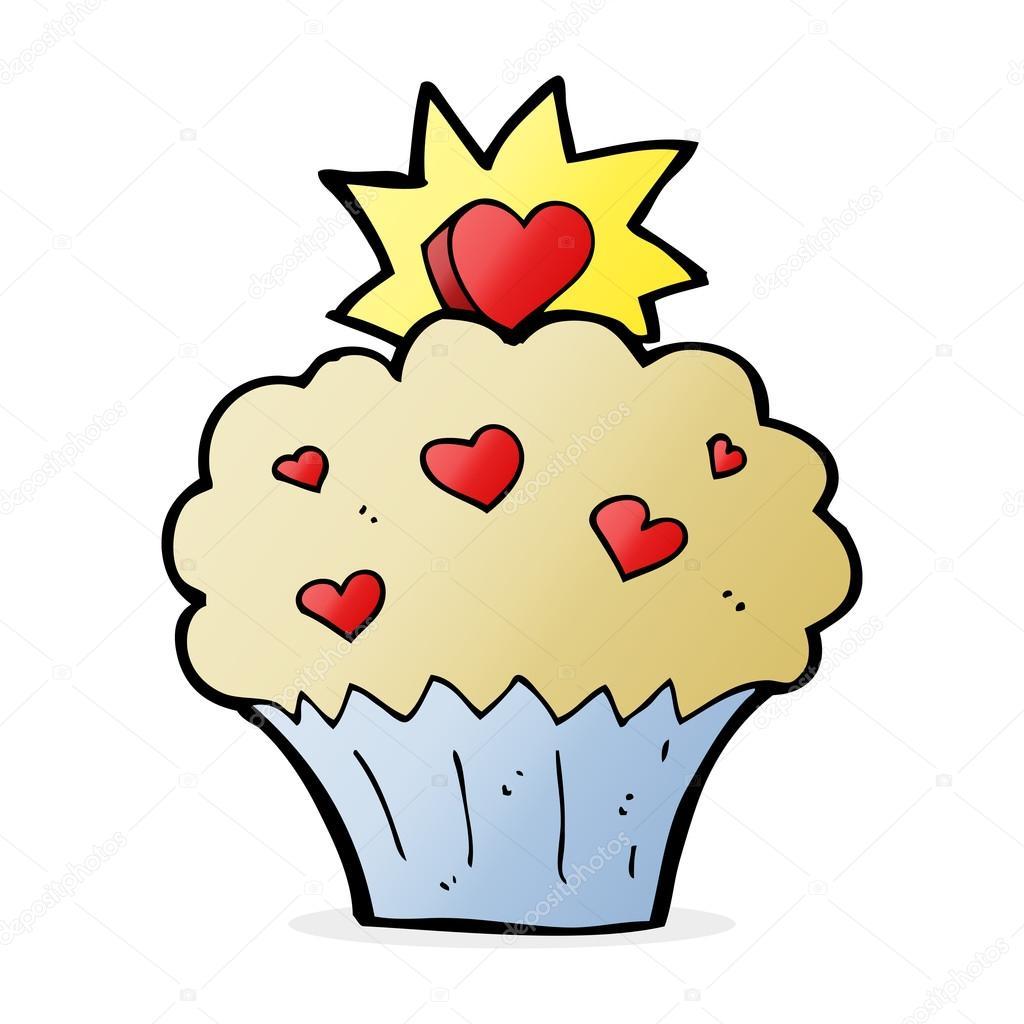 desenho animado amor coração cupcake vetor de stock