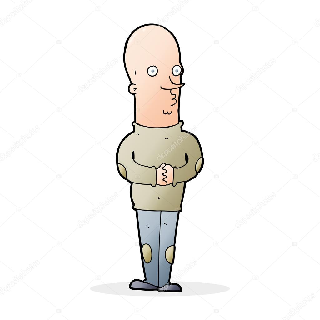 Uomo calvo divertente cartone animato u vettoriali stock