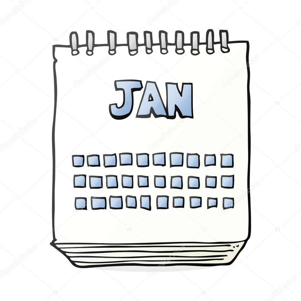 Cartoon Calendar Showing Month Of January Stock Vector