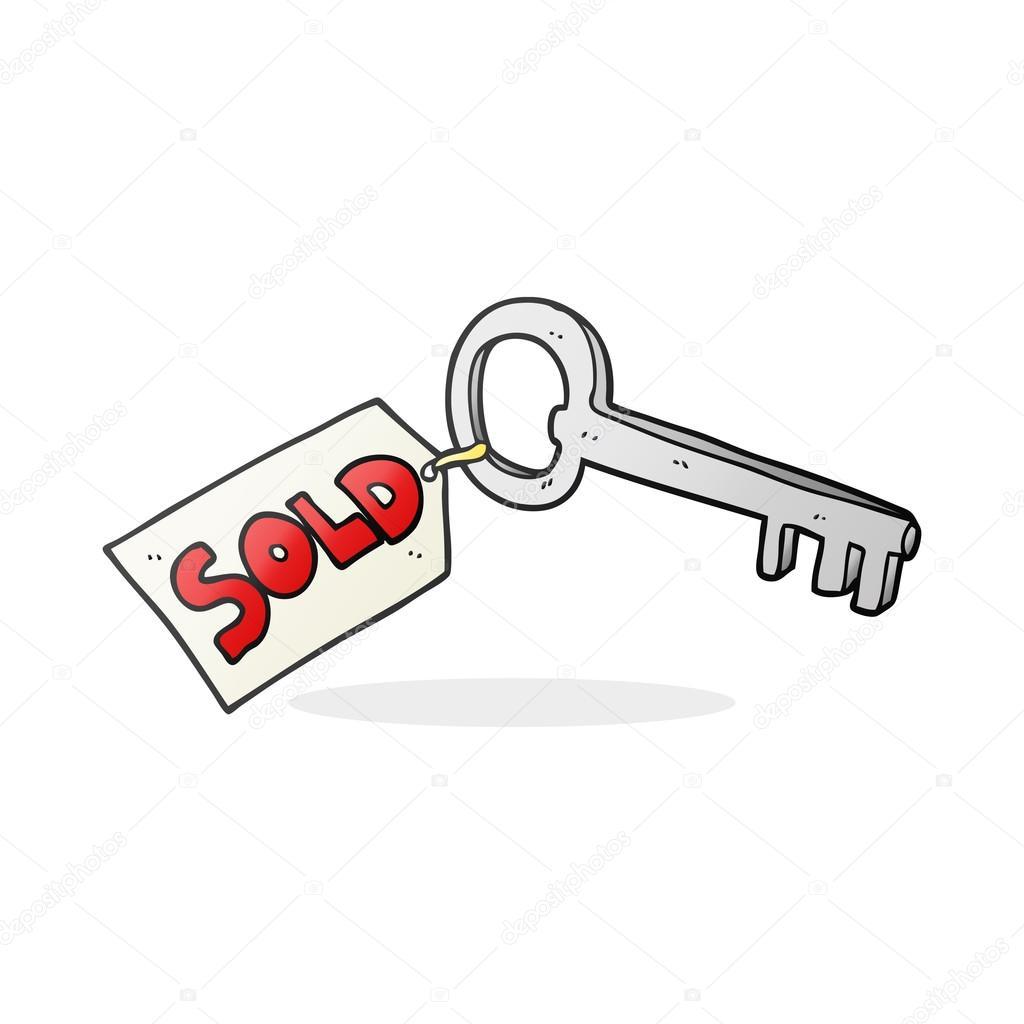 Nouvelle clé de maison caricature dessinée à main levée vecteur par