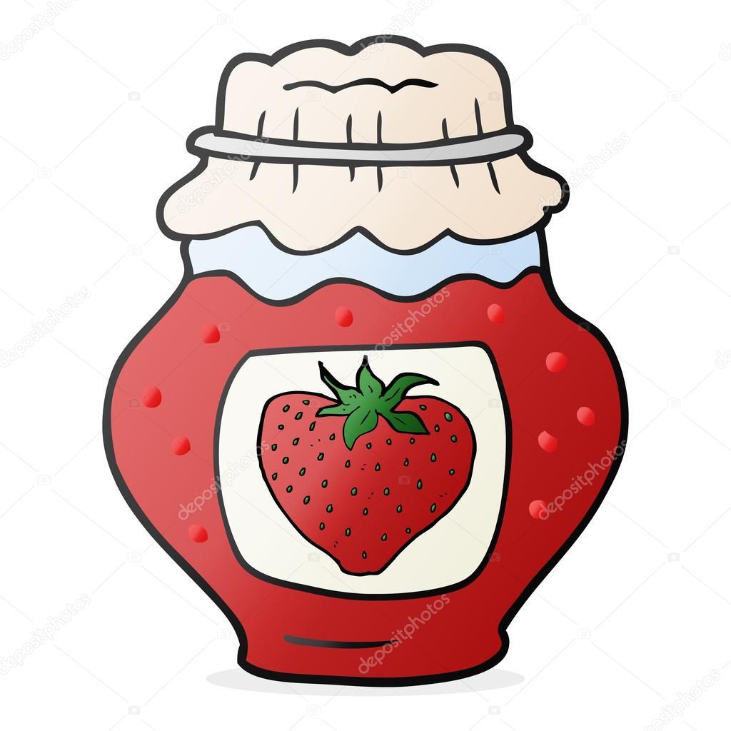 cartoon jar of strawberry jam � stock vector