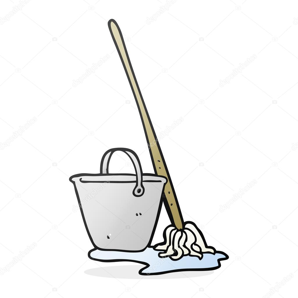 Cartoon Mop And Bucket Stock Vector Lineartestpilot 101977076