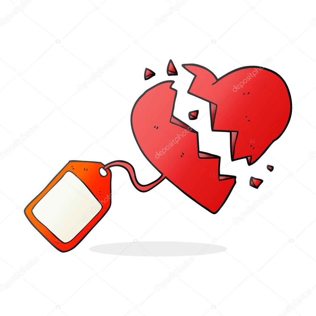 étiquette à Bagage En Dessin Animé Sur Coeur Brisé Image