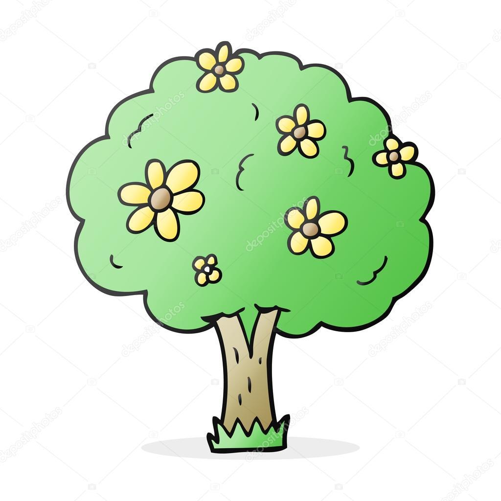 Animado Arbol Bonito árbol De Dibujos Animados Con Flores