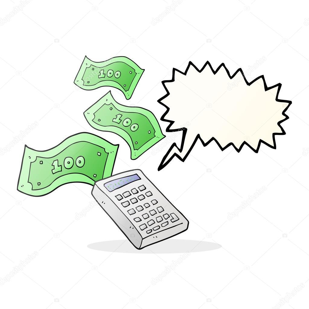 Calculadora de dibujos animados de burbujas de discurso contando el ...
