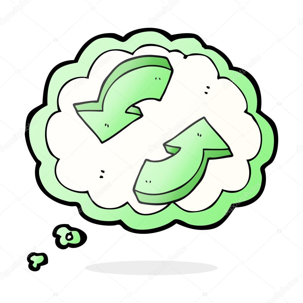 pensei que o desenho animado de bolha reciclagem setas vetores de