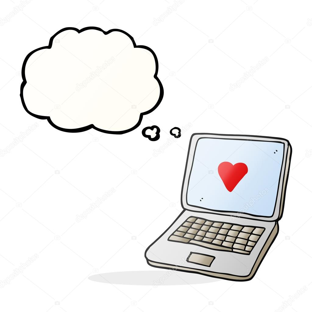 Thought bubble cartoon laptop computer with heart symbol on scre thought bubble cartoon laptop computer with heart symbol on scre stock vector buycottarizona Choice Image