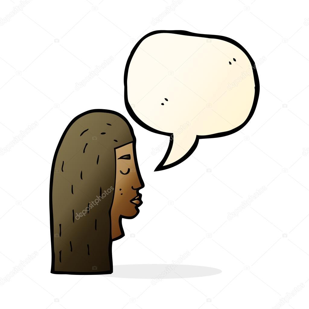 Profil De Visage De Femme Dessin Anime Avec Bulle De Dialogue